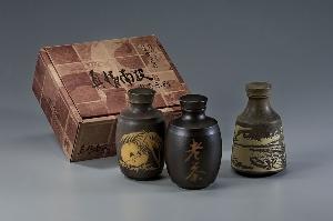 竹碳釉真情南投茶葉罐兩入禮盒(角瓶素面)