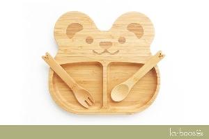 la-boos 竹製兒童餐具組( 餐盤 、湯匙、叉子)-可愛QQ 熊