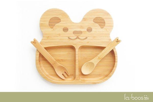 la-boos 竹製兒童餐具 餐盤 湯匙 叉子-可愛QQ 熊 封面圖片