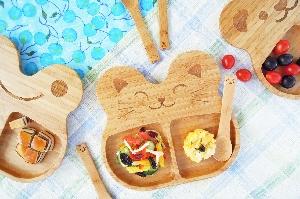 la-boos 竹製兒童餐具組-元氣Cat 貓