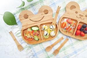 la-boos 竹製兒童餐具組合 - 可愛QQ熊&幸福微笑蛙 兩種款式一次擁有!